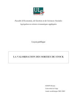 Séquence de cours : « La valorisation des sorties de stock ». 2