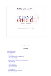 Journal officiel n°225 du 28 septembre 2007