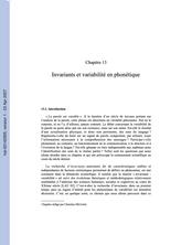 Invariants et Variabilité en Phonétique