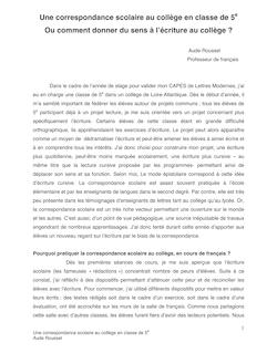 Une correspondance scolaire au collège en classe de 5e-Aude Roussel
