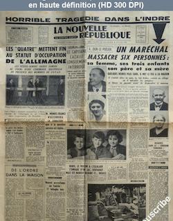 LA NOUVELLE REPUBLIQUE  numéro 3075 du 21 octobre 1954