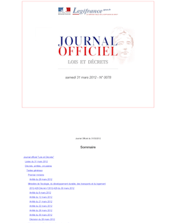 Journal officiel n°0078 du 31 mars 2012