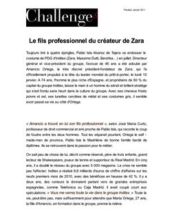 Le fils professionnel du créateur de Zara