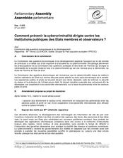 Comment prévenir la cybercriminalité dirigée contre les institutions  publiques des Etats membres