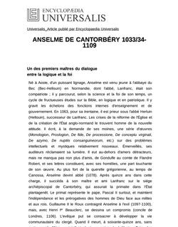 ANSELME DE CANTORBÉRY 1033/34-1109
