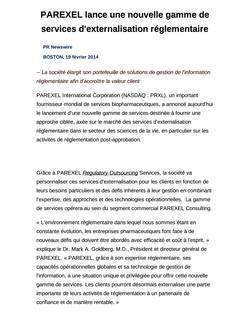 PAREXEL lance une nouvelle gamme de services d'externalisation réglementaire
