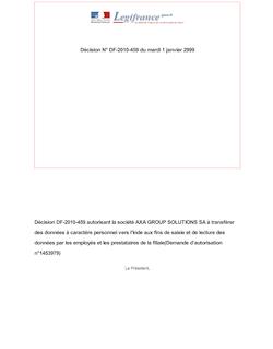 DECISION n°DF-2010-459 du