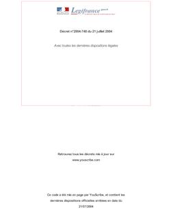 Décret n°2004-748 du 21 juillet 2004