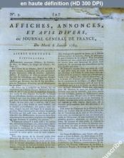JOURNAL GENERAL DE FRANCE numéro 3 du 06 janvier 1784