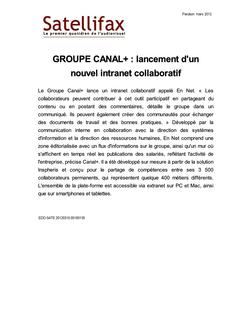 article du 15 mars 2012 - GROUPE CANAL+ : lancement d'un nouvel intranet collaboratif