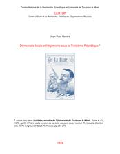 Démocratie locale et hégémonie sous la Troisième République