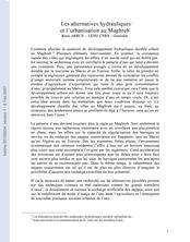Les alternatives hydrauliques et l'urbanisation au Maghreb
