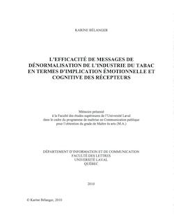 L'EFFICACITE DE MESSAGES DE DÉNORMALISATION DE L ...