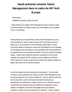 Haufe présente umantis Talent Management dans le cadre de HR Tech Europe