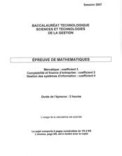 Sujet du bac STG 2007: Mathématiques MERC+CFE+GSI
