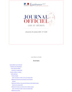 Journal officiel n°249 du 24 octobre 2004