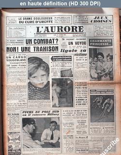 L' AURORE  numéro 4156 du 20 janvier 1958