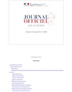 JORF n°0008 du 10 janvier 2010