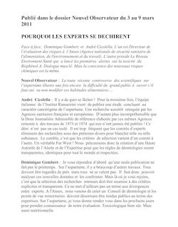 Publié dans le dossier Nouvel Observateur du 3 au 9 mars 2011 ...