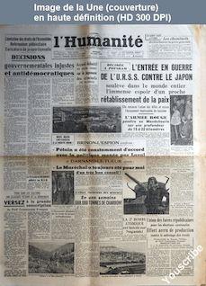 L' HUMANITE  numéro 311 du 10 août 1945