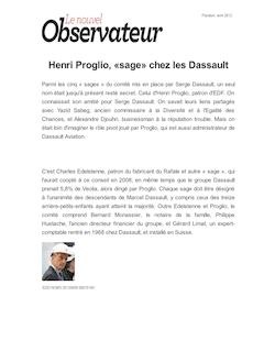 Henri Proglio, «sage» chez les Dassault