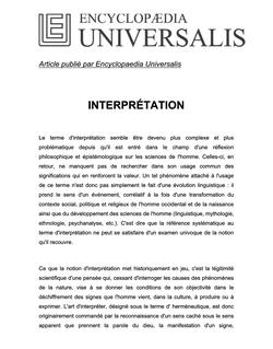 Définition d'Interprétation