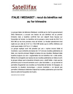 article du 11 mai 2011 - ITALIE / MEDIASET : recul du bénéfice net au 1er trimestre