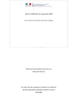Décret n°2009-1087  du 2 septembre 2009