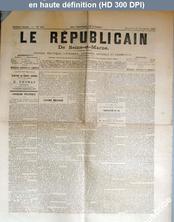 LE REPUBLICAIN DE SEINE ET MARNE  numéro 884 du 23 novembre 1881