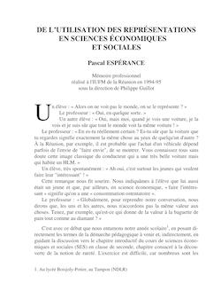 DE L'UTILISATION DES REPRÉSENTATIONS EN SCIENCES ÉCONOMIQUES ...