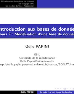 Introduction aux bases de données Cours 2 : Modélisation d'une ...