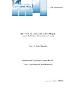 UFR d'Economie HISTOIRE DE LA PENSÉE ÉCONOMIQUE ...