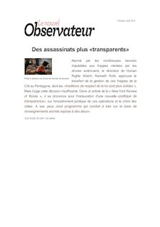 Des assassinats plus «transparents»