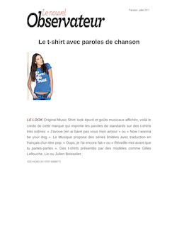 Le t-shirt avec paroles de chanson