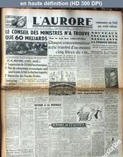 L' AURORE  numéro 734 du 19 décembre 1946