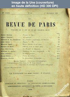 LA REVUE DE PARIS  numéro 21 du 01 novembre 1930