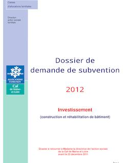 Dossier de demande de subvention 2012