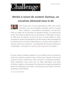 Merkel a raison de soutenir Sarkozy, un socialiste allemand nous le dit