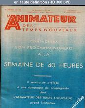 L' ANIMATEUR DES TEMPS NOUVEAUX  numéro 357 du 06 janvier 1933
