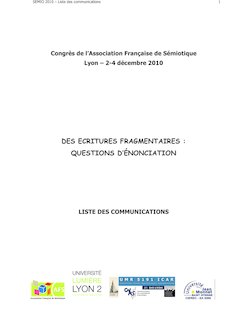 DES ECRITURES FRAGMENTAIRES : QUESTIONS D'ÉNONCIATION