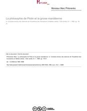 La philosophie de Plotin et la gnose mandéenne - article ; n°1 ; vol.133, pg 18-27
