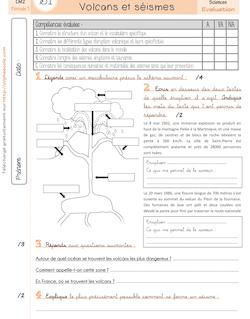Sciences CM2 – Volcans et séismes - 5. La leçon et l'évaluation Evaluation Volcans et séismes