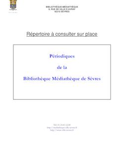 Périodiques de la Bibliothèque Médiathèque de Sèvres
