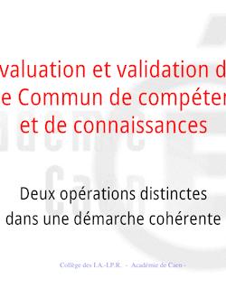 Évaluation et validation du Socle Commun de compétences et de ...