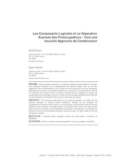 Les Composants Logiciels et La Séparation Avancée des ...