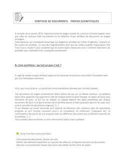Cours - Synthèse de documents en anglais - 2ème année de CPGE scientifique,