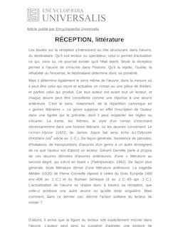 Définition et synonyme de : RÉCEPTION, littérature