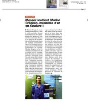 Messer Frane soutient Marine Bregeon, Médaillée d'or en soudure