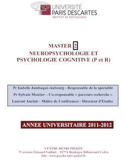 MASTER 2 NEUROPSYCHOLOGIE ET PSYCHOLOGIE COGNITIVE ...