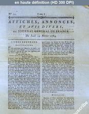 JOURNAL GENERAL DE FRANCE numéro 22 du 19 février 1784